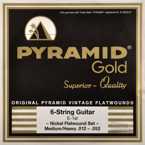 Pyramid Gold Flatwound Medium / Heavy Electric Guitar Strings 12-52