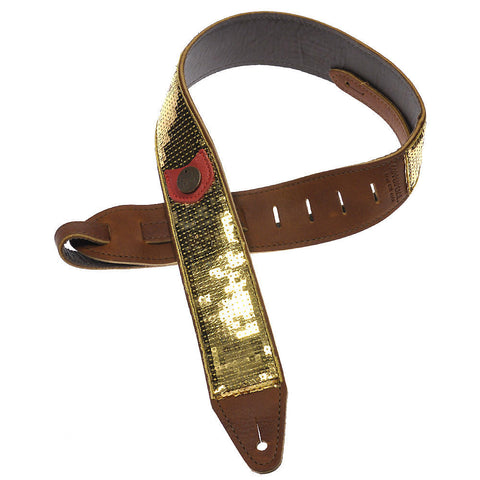Copperpeace Glovely Guitar Strap Gold Sequins & Brown Baseball Leather