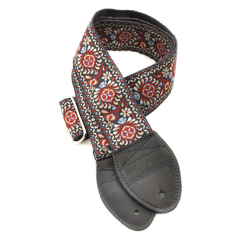 Souldier Guitar Strap - Hendrix Black/Red on Black Belt (Black Ends)