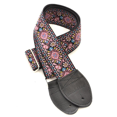 Souldier Guitar Strap - Hendrix Pink on Black Belt (Black Ends)