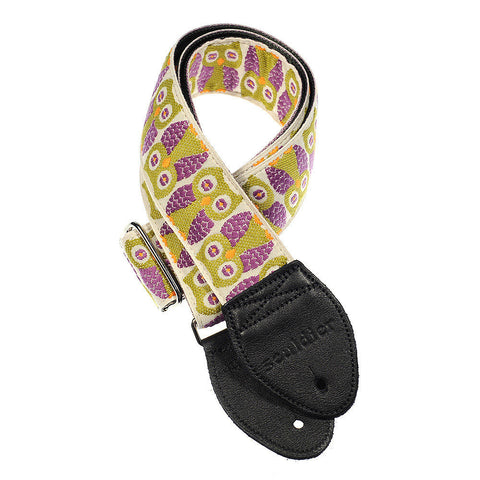 Souldier Guitar Strap - Purple Owls (Forest Green belt with Black Ends)