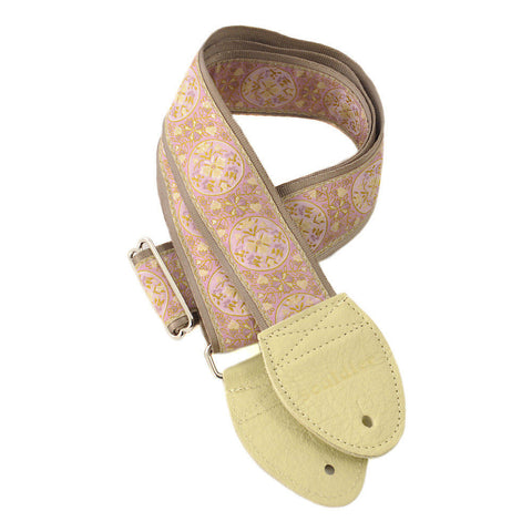Souldier Guitar Strap - Medallion Lavender on Gold Belt (Cream Ends)