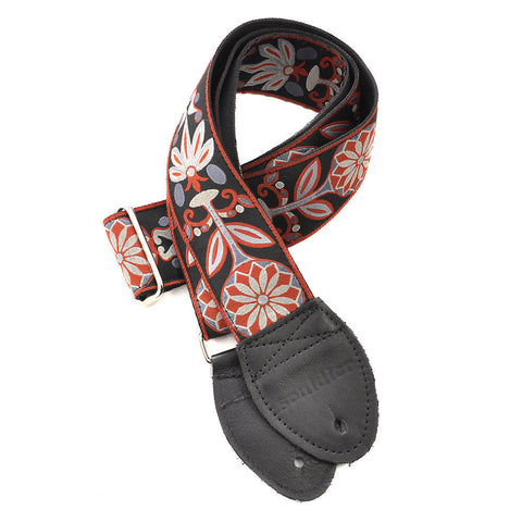 Souldier Guitar Strap - Gray Daisy (Black Ends)
