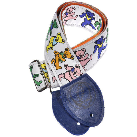 Souldier Guitar Strap - Grateful Dead Dancing Bears on White