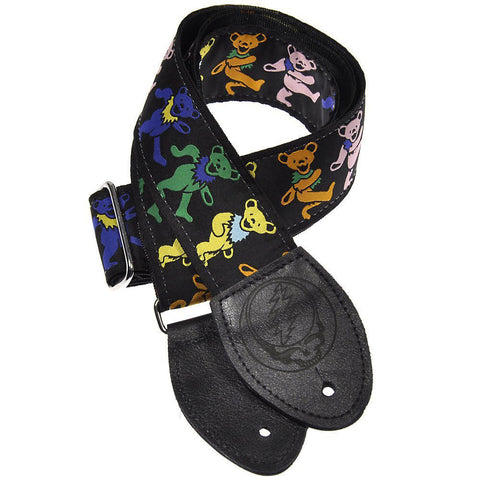 Souldier Guitar Strap - Grateful Dead Dancing Bears on Black