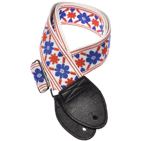 Souldier Guitar Strap - White Tulip 'Cream Clapton Fool' (Black Ends)