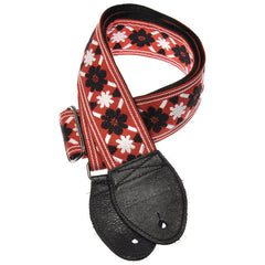 Souldier Guitar Strap - Black Tulip on Red (Black Ends)