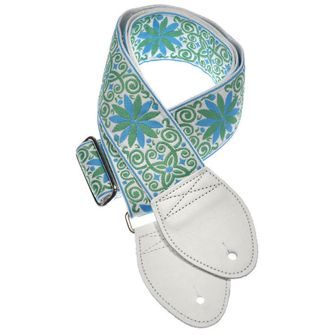 Souldier Guitar Strap - Dresden Star Miami Turquoise & Lime (White Ends)