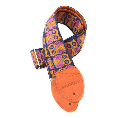 Souldier Guitar Strap - Owls (Orange Ends)