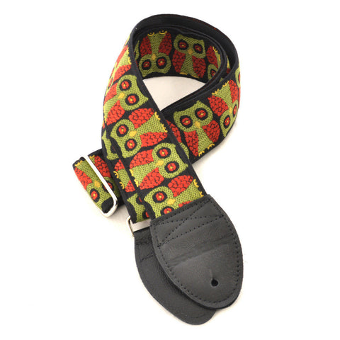 Souldier Guitar Strap - Olive Owls (Black Ends)