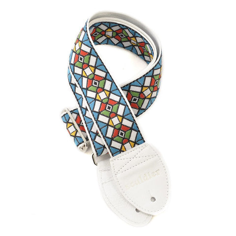 Souldier Guitar Strap - Blue on White Stained Glass (White Ends)