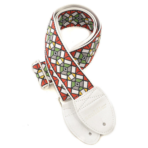 Souldier Guitar Strap - Stained Glass Red on White Belt (White Ends)