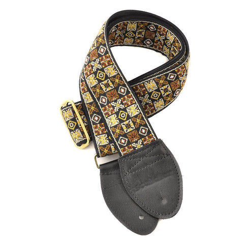 Souldier Guitar Strap - Gold Woodstock (Black Ends & Gold Buckle)