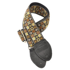 Souldier Guitar Strap - Gold Woodstock (Silver Buckle and Black Ends)