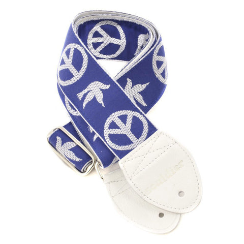 Souldier Guitar Strap - Neil Young Peace Dove Blue (White Ends)