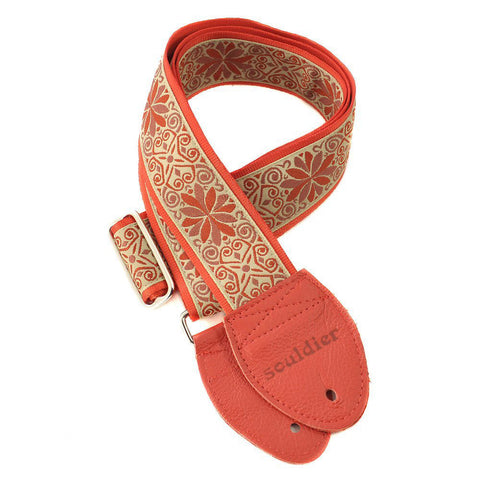 Souldier Guitar Strap - Dresden Star Taupe on Red Belt
