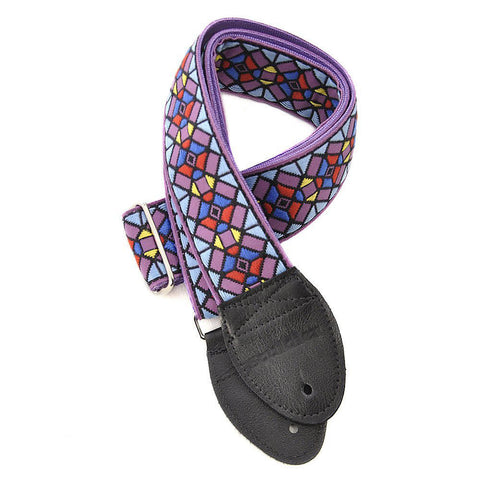 Souldier Guitar Strap - Stained Glass Purple on Purple Belt (Black Ends)