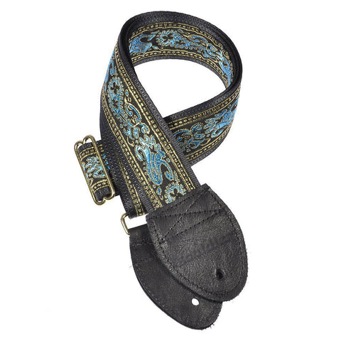 Souldier Guitar Strap - Turquoise & Gold Paisley (Black Belt)