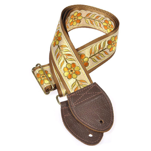 Souldier Guitar Strap - Anja Orange & Yellow Fowers on Gold