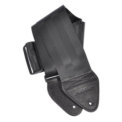 Souldier Guitar Strap - Black Plain Seat Belt 3 Inch