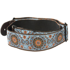 "Henry Heller Sky Blue Gypsy Jacquard 2.5"" Guitar Strap w/Cotton Backing"