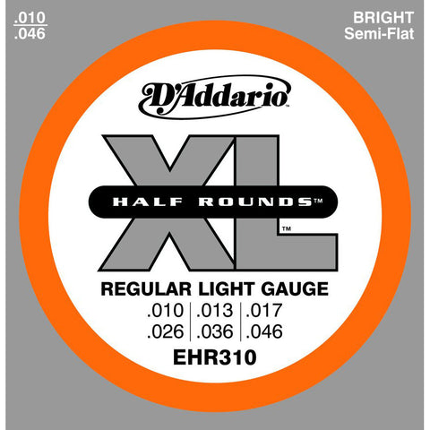 D'Addario EHR310 Half Round Regular Light Electric Guitar Strings 10-46