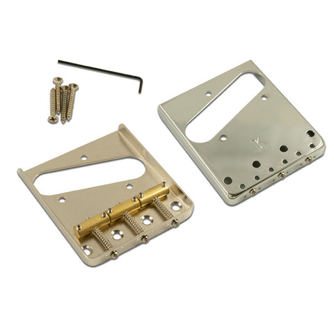 Kluson Steel Bridge for Telecaster Nickel-Satin w/Brass Saddles