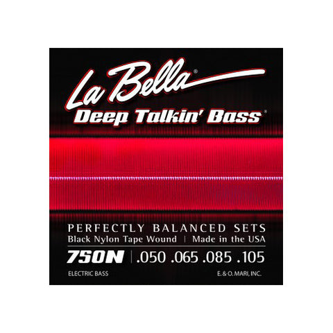 La Bella 750N Deep Talkin Bass Black Nylon Tape Wound 50-105