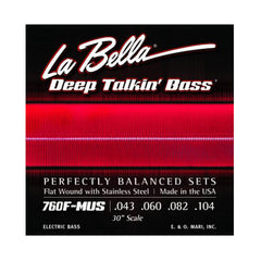 La Bella 760F-MUS Deep Talkin Bass Stainless Steel Flat Wound 30 Inch Scale 43-104