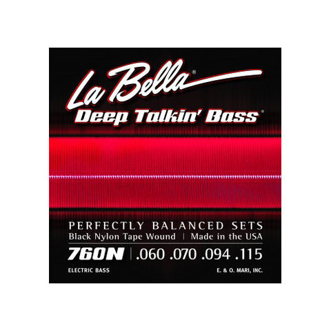La Bella 760N Deep Talkin Bass Black Nylon Tape Wound 60-115