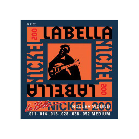 La Bella N1152 Electric Guitar Nickel Roller Wound Strings Medium 11-52
