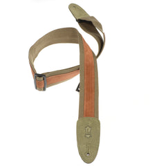 Levy's 2 Inch Designer Series Cotton/Suede Guitar Strap w/Tri-Glide Adjustment - Green