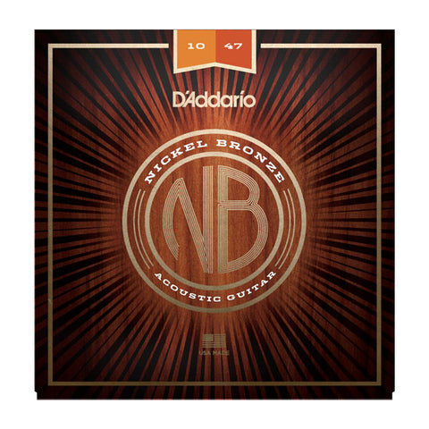 D'Addario NB1047 Nickel Bronze Acoustic String Set Extra Light 10-47