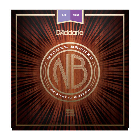 D'Addario NB1152 Nickel Bronze Acoustic String Set Custom Light 11-52