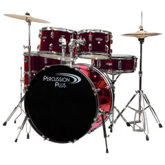 Percussion Plus 5 Piece Complete Drum Set Package Metallic Wine Red