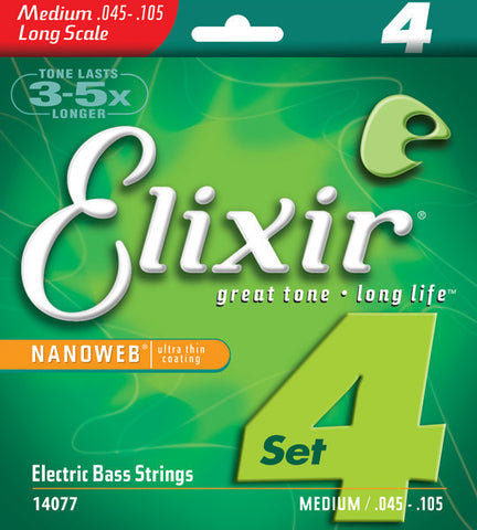 Elixir Medium Nanoweb 4-String Bass Strings 45-105