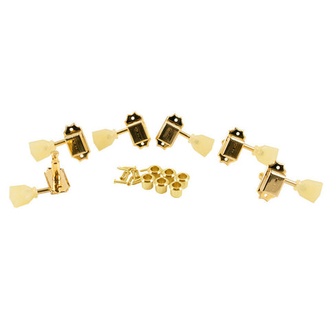 Kluson 3+3 Tuners Pearl Single Ring Button Single Line Gold