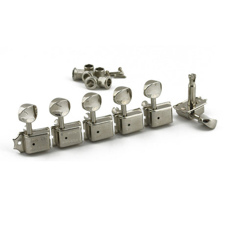 Kluson 6-In-Line Tuners Oval Metal Button Double Line Nickel