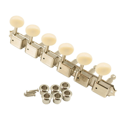 Kluson 6-In-Line Tuners Plastic Buttons Nickel