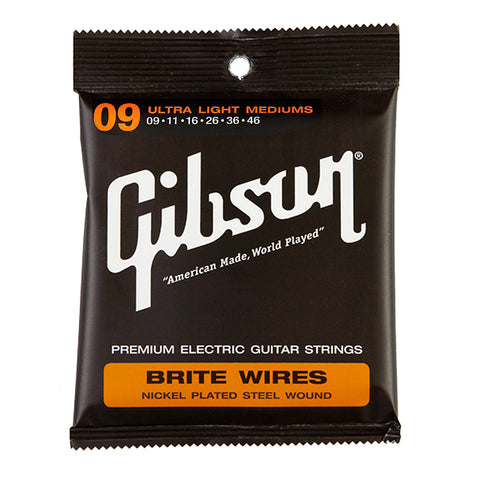 Gibson Gear Brite Wires Electric Guitar Strings Ultra Light Medium Custom 9-46