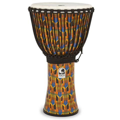 Toca 14'' Freestyle Rope Tuned Djembe Kente Cloth w/Matching Bag