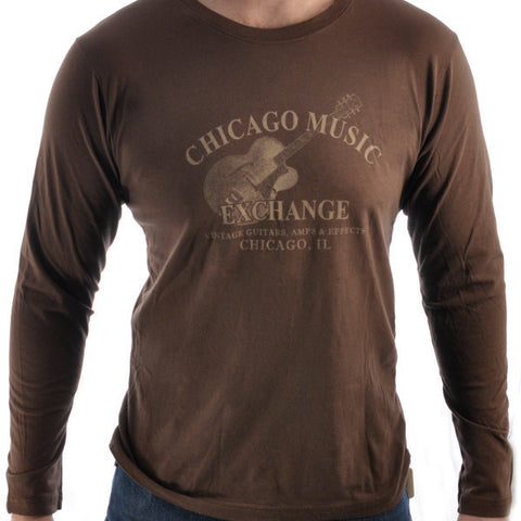 CME Guitar Logo T-Shirt Long Sleeve Brown