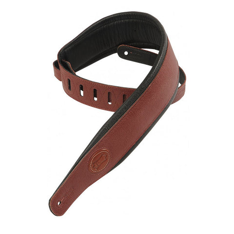 Levy's 2.5 Inch Signature Series Garment Leather Guitar Strap - Burgundy