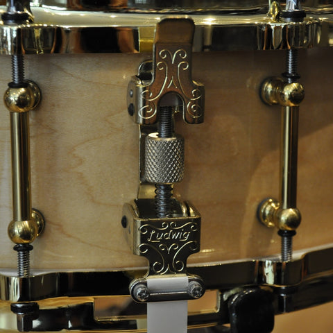 Ludwig 5x14 Classic Maple Snare Drum w/Tube Lugs,P86 Throw,Die Cast Hoops,Brass Hdwr Natural Maple