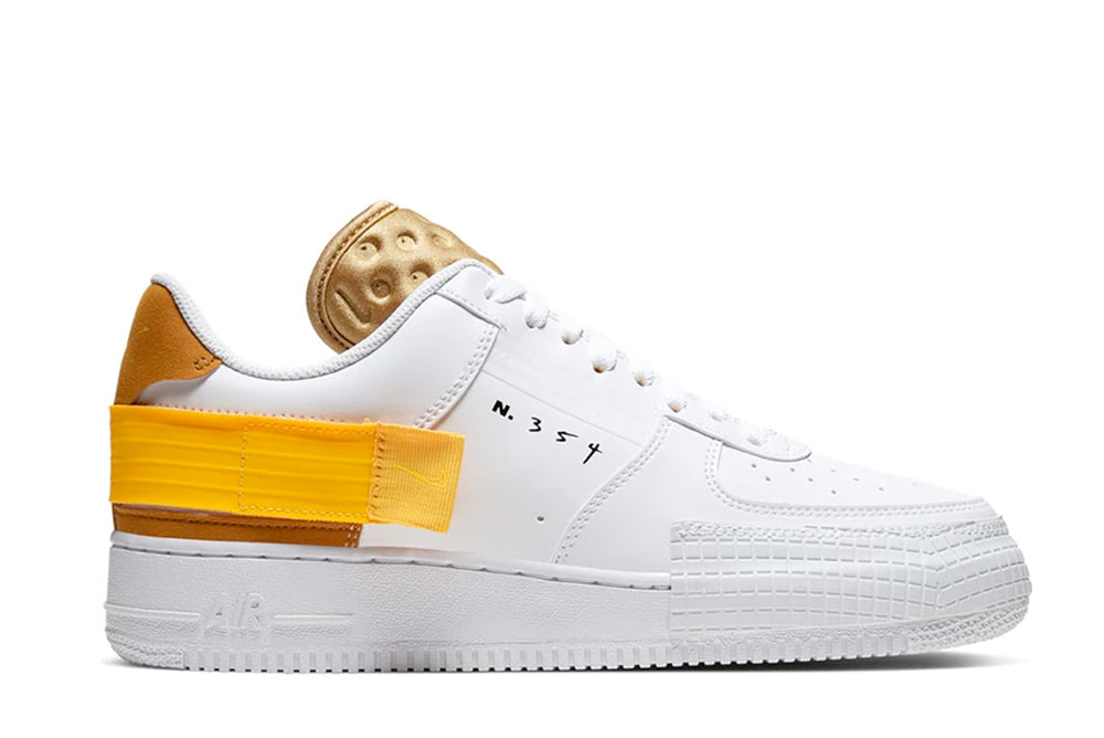 Nike Air Force 1 Type White/Gold Suede-Club Gold-University Gold