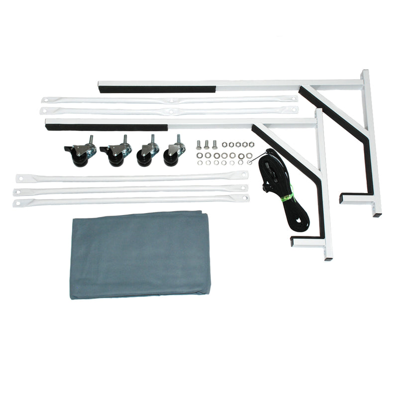 BMW E46 3 Series Heavy-duty Hardtop Stand Trolley Cart Rack (White) with Securing Harness and Hard Top Dust Cover