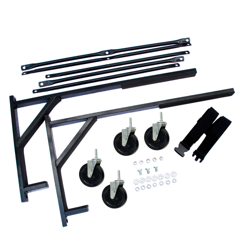 "Triumph TR6 Heavy-duty Hardtop Stand Trolley Cart Rack (Black) with 5"" castors, Securing Harness and Hard Top Dust Cover (050Bc)"