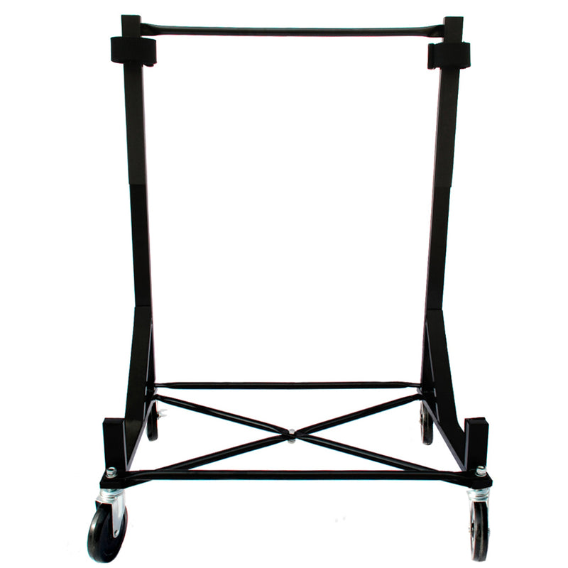 "Heavy-duty Hardtop Stand Trolley Cart Rack (Black) with 5"" castors, Securing Harness and Hard Top Dust Cover (050Bc)"