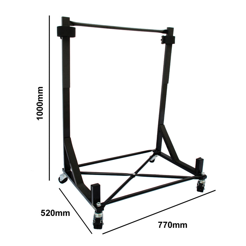 Mazda MX-5 Miata Heavy-duty Hardtop Stand Trolley Cart Rack (Black) with Securing Harness and Hard Top Dust Cover