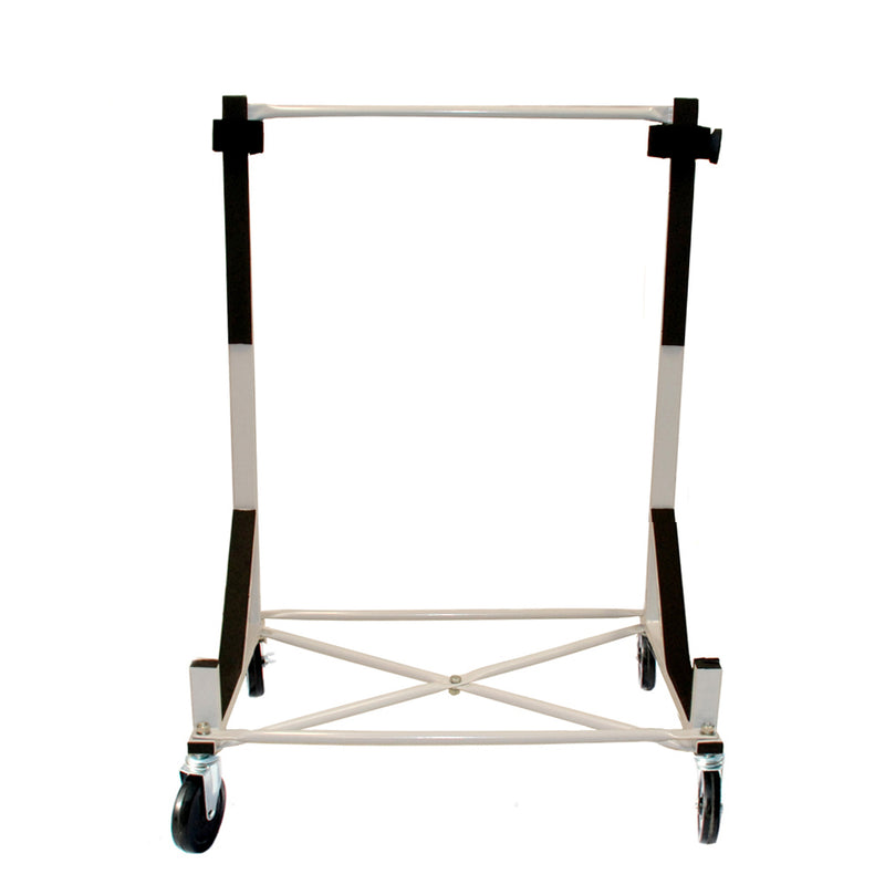 "Triumph TR6 Heavy-duty Hardtop Stand Trolley Cart Rack (White) with 5"" castors, Securing Harness and Hard Top Dust Cover (050c)"